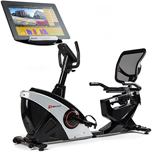 Hop-Sport Liegeheimtrainer HS-070L inkl. Unterlegmatte Sitzheimtrainer Bluetooth 4.0 Smartphone Seteuerung 16 Widerstandsstufen 12 Programme Schwungmasse 18,5 kg (Silber)