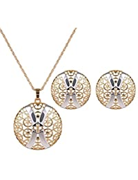 Sanak Creations Jewellery Set Fancy Gold Plated Jali Necklace Set With Matching Earrings For Girls And Women