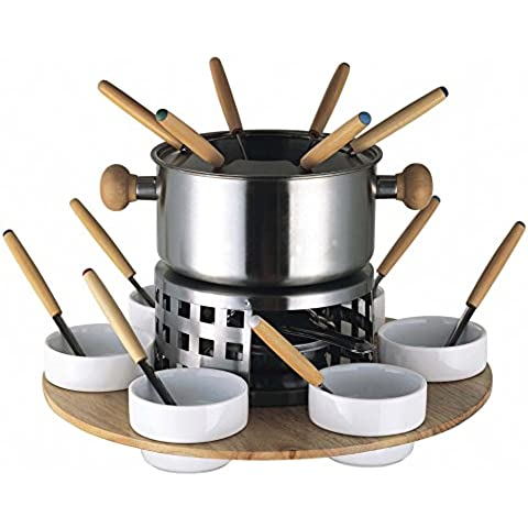 Baumalu 342703 - Set per fonduta in acciaio inox, 6 persone, vassoio girevole in legno