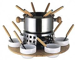 Idea Regalo - Baumalu 342703 - Set per fonduta in acciaio inox, 6 persone, vassoio girevole in legno