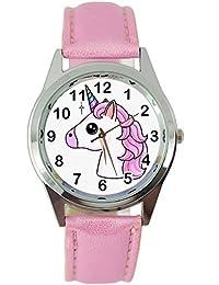 TAPORT® - Reloj de cuarzo con diseño de unicornio y correa de piel rosa, con pila de repuesto y bolsa para regalo