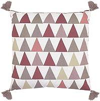 Art for KDS 40x 40cm 100% coton Motif Triangles coussin garni carré avec pompons, Rose