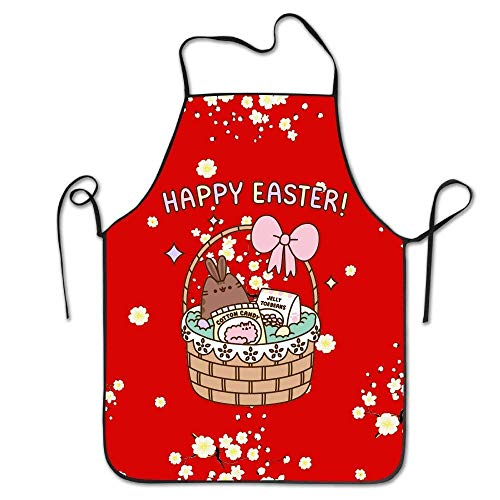 Pusheen The Cat Happy Easter Cartoon Candy Chef Kitchen Cooking Apron Bib with an Adjustable Neck Baking Aprons for Men Or Women Ladyâ€s Girls Chef Waitress Apron Candy Kitchen