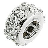 Rhodium auf 925Sterling Silber Rund Ring April Geburtstag klar CZ Kristall Perle für europäische Charm-Armbänder