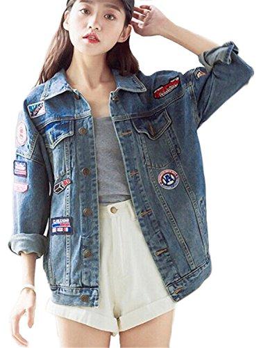 Minetom Femmes Filles Automne Badge Brodé Demin Veste Lavé En Vrac Boyfriend Style Jeans Veste Bleu FR 40
