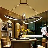 Hireomi ® 48W LED Pendelleuchte Esstisch Hängelampe Pendellampe Kronleuchter Wohnzimmer Küche Pendel Moderne Aluminiu Hängeleuchte Pendellänge maximum 120 cm und höhenverstellbar Acryl (Warm Weiß)