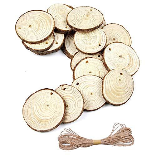 20PCS Natürliche Unfertige Holzscheiben 9-10 CM mit Löchern Runde Holzstücke DIY Handwerk Mittelstücke Weihnachten Ornaments