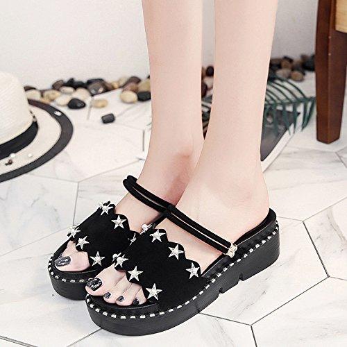 XY&GKDonna Sandali con una parola pantofole, Femmina Estate fondo spesso al di fuori della moda, indossando Beach pendenza con scarpe da donna, 36, bianco,con il migliore servizio 39black