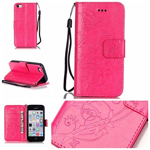 Mk Shop Limited Coque pour iPhone 5C,PU Cuir Flip Magnétique Portefeuille Etui Housse de Protection Coque Étui Case Cover avec Stand Support pour Apple iPhone 5C Multi-couleur 3