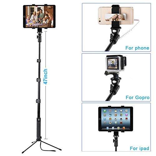 ohCome [Senza Batteria] 16.5-57' Con Cavo Portatile Alluminio Monopiede Usalo come Selfie Stick, Palo Gopro Pole, Treppiede da terra Supporto per Tablet/Telefono Tripod | Adatto per 3.5-10' Tablet, iPhone, Smartphone Android, Gopro Hero Camera
