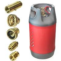 Carbon Zorro Refillable 10 kg (24,5 L) Kompakte LPG Tank Flashe Gasflaschen mit sicherer Füllung aus Kunststoff, BBQ, Camping Alle Europa-Adapter (Adaptors)