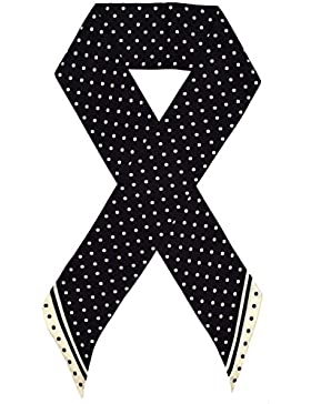 Bees Knees Fashion - Bufanda - Negro Crema Impreso Doble Capa De Lazo Largo De Seda Bufanda