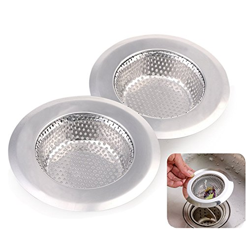 ECHI 2Pcs kitchen Sink Drain Filter, Stainless Steel Sink Strainer Suit for Kitchen and Bathroom(Large)