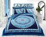 Amor Mode Paisley Mandala Bettbezug & Kissenbezug Set Bettwäsche Wende Hotel Qualität Bezug aus Polycotton-Schlafzimmer Sofa Set, Polycotton, blau, Double: 200cm x 200cm