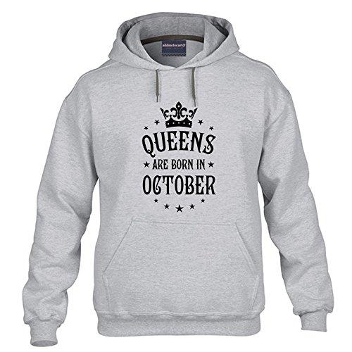 Addmetocart Solid Women's Queens Are Born in October Grey Hoodie Sweatshirt Full Sleeve (Grey, Large)