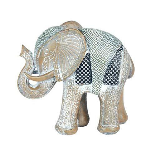 CAPRILO Figura Decorativa de Resina Elefante Étnico Adornos y Esculturas. Animales. Decoración...