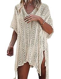 df11aa3f3c Tkiames Women s Bathing Suit Beach Bikini Swimsuit Swimwear Cover Up  Crochet Dress