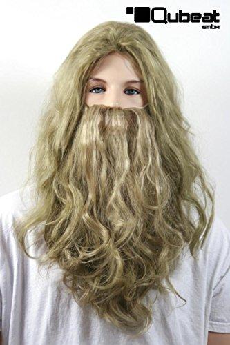 Schaufensterpuppendiscount Perücken Herren Lang braun-blond Polyester mit Bart Mittelscheitel gewellt Karneval