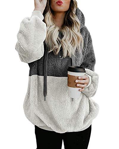 ORANDESIGNE Damen Herbst Winter Kapuzenpullover Hoodie Pullover Fleece Mantel Mit Kapuze X Grau 38 -