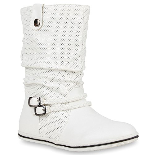 Bequeme Damen Stiefel Schlupfstiefel Lochungen Flache Boots Leder-Optik Metallic Schuhe Flandell Weiß