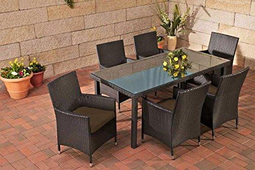 Gartenmöbel, Gartenmöbel-Set, Sitzgarnitur Florenz, terra-braun / schwarz, Polyrattan-Aluminium-Gestell, Gartengarnitur, Sitzgruppe
