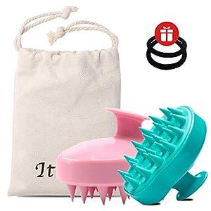 Ithyes Shampoo Bürste Silikon Kopfhaut Massager Haarbürste Nasstrockener Kamm Kopf Gummipflege verbessert die Durchblutung für Männer, Frauen, Haustiere, 2 Stück