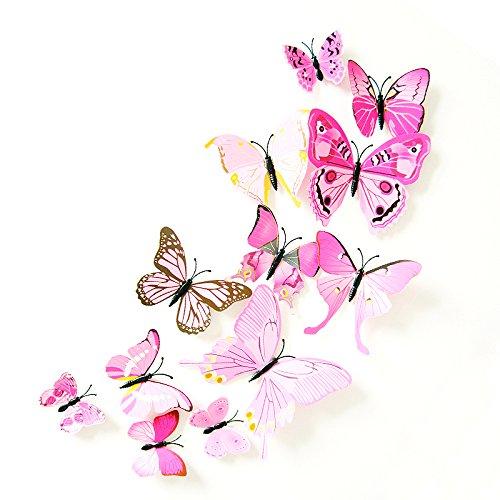 12 St Motiv PVC-Aufkleber Schmetterling Deko 3D-Aufkleber (Rose)
