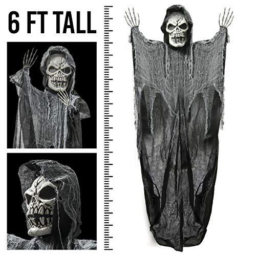 Prextex 1,80 Meter Hängender Sensenmann Totenschädel, die perfekte Dekoration für Halloween