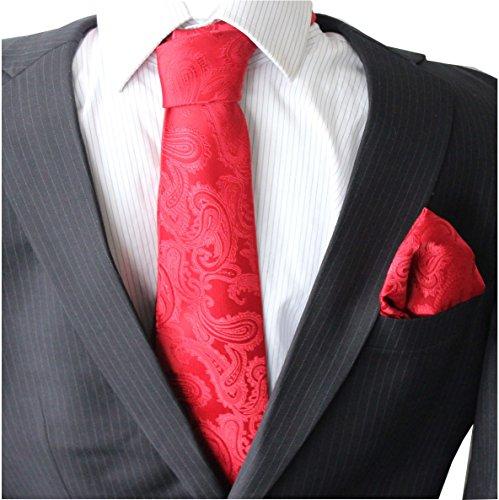 Paisley Krawatten Set Krawatte breit Einstecktuch Knöpfe Manschetten Hochzeit (Rot)