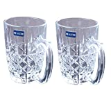Rjkart Transparent Drinkware Wine Glass with Handle 360 ml- Set of 2
