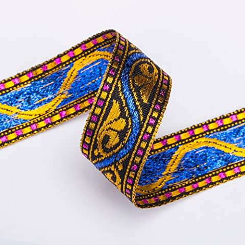 Stunning India Sari Decorative Ribbon, 2cm, Gold Red, Violet &