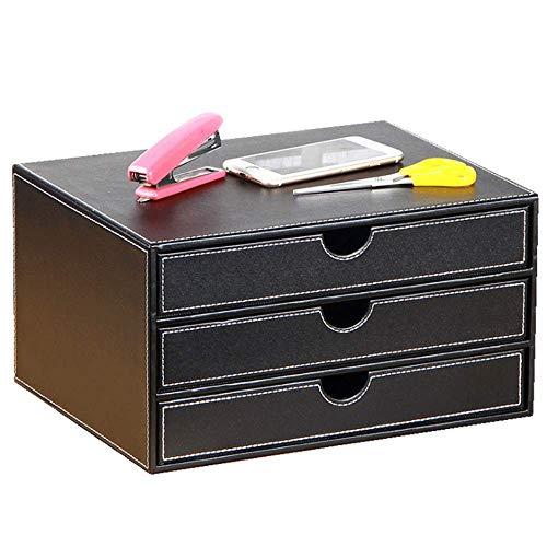 NNDQ Executive-Aktenschrank aus schwarzem Kunstleder mit 3 Schubladen, Büromaterial, Schubladenaufbewahrung, Schmuck-Organizer-Box für den Büro-Haushalt -