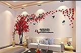 XX&GUO 3D Adesivi Murali Wall Sticker Forma Albero Adesivi da Parete in Acrilico Foresta con Multicolore Foglie(RED)