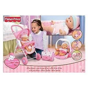 Fisher Price - Ensemble de voyage pour poupée très complet : Poussette + Poupée + Sac de voyage + Siège voyage + 7 accessoires - + 2 ans
