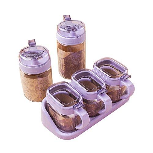 Bouteille d'assaisonnement, Distributeur d'huile d'olive Assaisonnement en verre de blé Pot à épices Sel Poivre Assaisonnement Boîte à bouteille Combinaison de ménage 5 Sets (23X11cm) ++