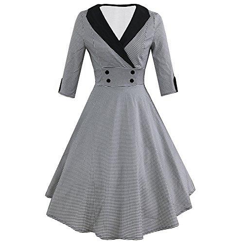 iBaste Damen Hahnentritt Rockabilly 50er Vintage Retro Kleid 3/4 Arm Faltenrock Kleider Cocktailkleid
