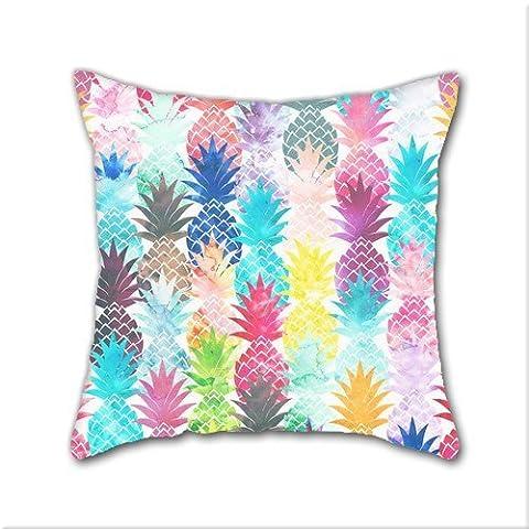 Cotton Linen Throw Pillow, Decorative Pillows.™ Hawaiian Pineapple Pattern Tropical Watercolor Cotton Linen Square Decorative Throw Pillow Case Cushion Cover 18 x 18