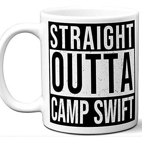 Militärische Geschenke für Männer, Frauen Straight Outta Kaffee-Haferl Camp Swift Soldier Service-Mitglied Army Navy Air Force Marines Entsendung Ruhestand Promotion Veteran Mama Papa Valentines -