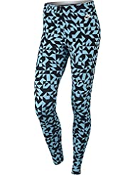 Nike W Nsw Lggng Club Tangrams Mallas, Mujer, Azul (Vivid Sky/White), L