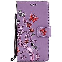 LG K10 Hülle, LG K10 Case, Cozy Hut [Premium Leder Serie] Design Schmetterlings-Blumen Muster Kunstleder Ledertasche Schutzhülle PU Leder Flip Tasche Case mit Integrierten Kartensteckplätzen und Ständer für LG K10 Lederhülle Magnetverschluss Hülle - lila