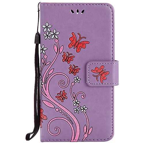 LG K8 Case Purple Leather, Cozy Hut Retro Butterfly Flower Patterned Embossing PU Leather Stand Function Protective Cases Covers with Card Slot Holder Wallet Book Design Detachable Hand Strap for LG K8 - purple