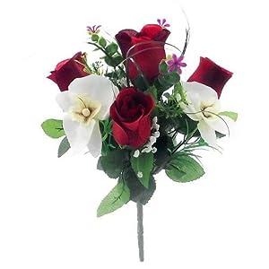 30 cm de seda artificial rojo y crema rosa y orquídea flor arbusto – Home Grave