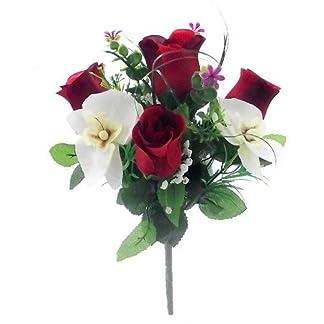 30cm seda Artificial rojo y crema rosas y orquídeas flores Bush–Home tumba