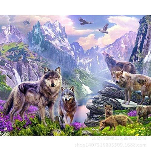 Dtdsht 5D DIY Mosaik Voller Runder Voller Quadratmeter Diamant Malerei Wolf Im Wald Kreuzstich Stickerei Hause Handwerk Dekoration(19.7x27.6inch)
