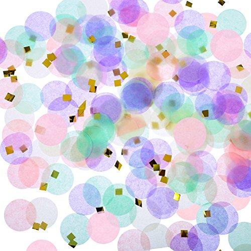 TecUnite Einhorn Konfetti 1 Zoll Runde Seidenpapier Konfetti Einhorn Party Dekoration, 1,76 Unzen (Rose Confetti)