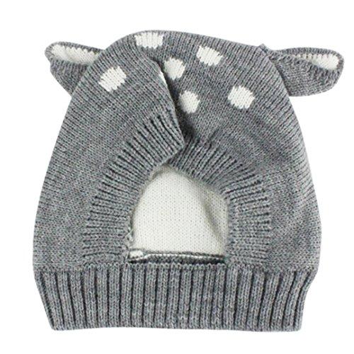 """Sombreros de bebé Amlaiworld Sombrero del bebé del invierno otoño Gorras de niñas niños (7.1*7.1"""", Gris)"""