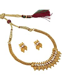 Shining Jewel 22K Traditional Gold Jalebi Coin Necklace Set (SJ_2327)