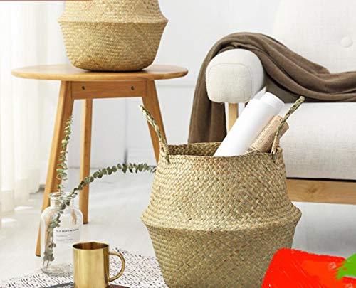 BOVIENCHE Haushalt Faltbare Natürliche Seegras Woven Lagerung Körbe Garten Blume Vase Hängenden Korb Mit Griff Lagerung Bellied Korb -