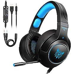 Tenswall Casque de jeu PS4,Casque Gaming Xbox One Casque PC avec son stéréo et réduction du bruit LED lumière Microphone Réglable 3.5mm Connecteur Casque pour Laptop, Tablette (Bleu)