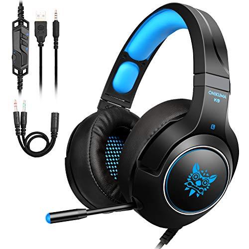 Casque Gaming PS4,Tenswall casque gaming pc pour ,Xbox One, Nintendo Switch, PC, Laptop, Tablette,avec 3.5mm Connecteur, Micro, LED Lumière, Audio Stéréo Basse, bien Anti-Bruit&Contrôle du Volume-Bleu
